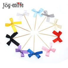 JOY-ENLIFE 12pcs/lot Ribbon Bow Cupcake Topper Baby Shower Birthday