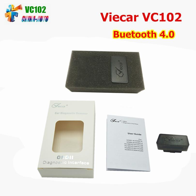 100pcs/lot Viecar VC102 Bluetooth 4.0 OBD2 Scanner V1.5 ELM327 Auto