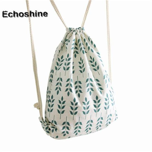Drawstring Backpack Cotton&canvas leaf Printing Travel Softback Man