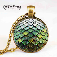 QiYuFang jewelry Steampunk glass Game of Thrones Dragon Egg Pendant Necklace doctor who 1pcs/lot toy vintage hot charms