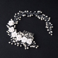 Hair Accessories For Pearl Flower Hairband Wedding Bride Tiaras Crown Length Headband Noiva Hair pinHair Jewelry Hair Comb