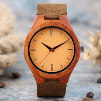 2018 New Arrival Luxury Sandalwood Watch Fashion Casual Brown Leather Strap Quartz Vintage Bamboo Wooden Watches Gifts
