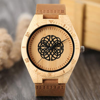 Bamboo Wood Watch Casual Black Flower Spheres Design Dial Wooden Quartz Wristwatch Genuine Leather Sports Clock Gifts 2018
