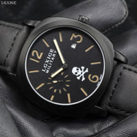 LGXIGE Skull Wrist Watch Genuine Leather Military Watch Army Retro Fashion Male Clock 2018 Halloween Gift relojes hombre