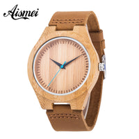 2018 Casual Nature Wood Bamboo Genuine Leather Band Strap Wrist Watch Fashion Analog Bracelet Gift relojes de pulsera