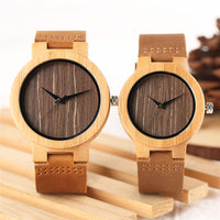 2018 Vintage Coffee Dial Bamboo Watch Natural Wood Analog Quartz Dress Clock Genuine Leather Lovers Valentine Gifts
