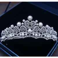 Bridal Clear Rhinestone Crystals Flower Tiara Crown For Brides Wedding Alloy Headdress Hairband Hair Jewelry Accessories