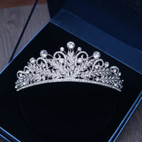 Silver Baroque Wedding Crystal Tiaras Crowns Brides Headband Hairbands Bridal Rhinestone Pageant Tiaras Crowns Hair Jewelry
