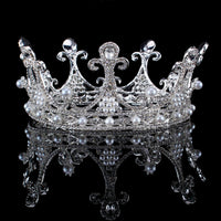 Wedding Crowns Alloy Pearl Bridal Tiara Baroque Queen Crown Silver Color Rhinestone Tiaras Crown Headpiece Hair Jewelry