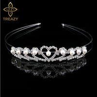 TREAZY Wedding Bridal Bridesmaid Tiara Crown Headband Flower Girls Children Crystal Rhinestone Faux Pearl Hairband Party Jewelry