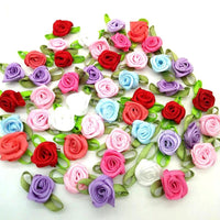 100pcs Mix color ribbon rose handmade flowers gart supplies sewing appliques diy accessories wedding decoration A419
