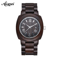 2018 Wooden Watch Relojes Watches Casual Vintage Retro calendar Wood Wristwatch Black Wood Watch Relogio Masculino
