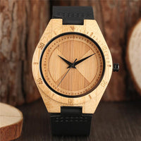 Creative Bamboo Quartz Wrist Watch Nature Wood Creative Watches Black Genuine Leather Band Analog Clock 2018 New Gift