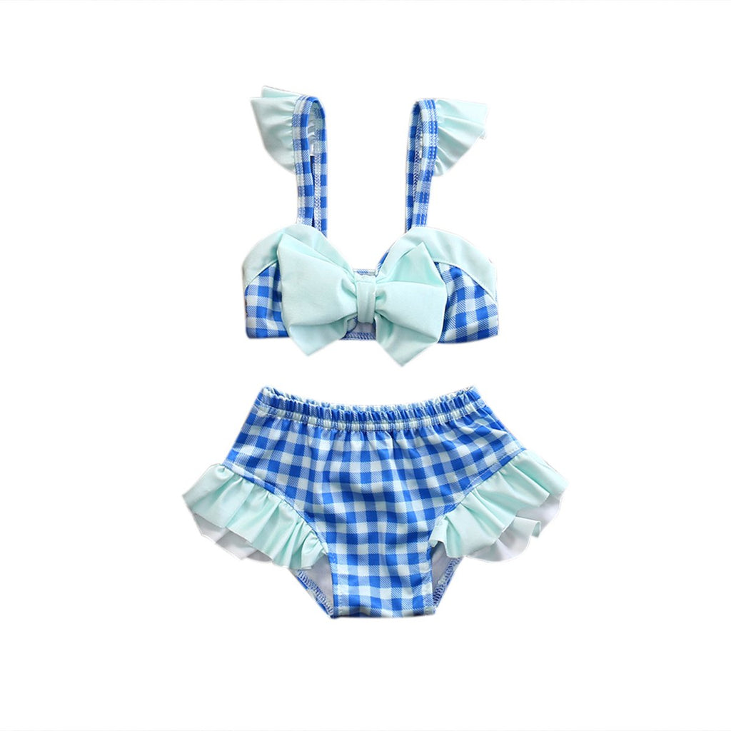 2 Pcs Kid Infant Baby Girls Plaid Swimwear Bowknot Swimsuit Bathing Suit Costume Beachwear 0-5T Clothing