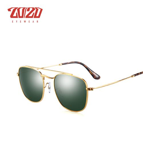 20/20 Brand Polarized Sunglasses Unisex Square Metal Frame Driving