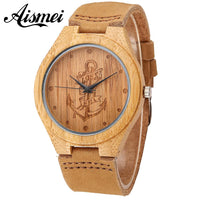 Lost At Sea Anchor Wood watch 2018 Hot Sell Fashion Wooden Watches with Genuine Leather Luxury Quartz WristWatch Gifts