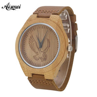 2018 Design s Bamboo Wooden Watches Top Luxury Eagle dial Wood Quartz Watches With Genuine Leather Strap Relojes de hombre