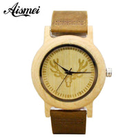 2018 Fashion Deer Head Bamboo Wood Casual Watches Female laides Genuine Leather Strap Quartz Watch Gift drop shipping