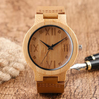 2018 Fashion Handmade Bamboo Wooden Watches Analog Wristwatches Leather Casual Male Clock Best Gift Relogio Masculino