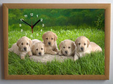 Labrador Puppies Picture Wall Clock framed