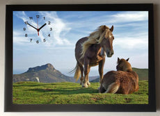 Moorland Ponies/Horse Picture Wall Clock framed