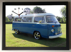 VW Camper Van Blue Picture Wall Clock framed