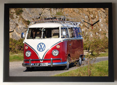 VW Camper Van Red Picture Clock framed