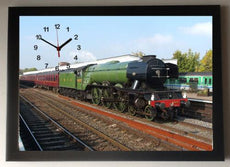 Flying Scotsman Train Picture wall Clock framed