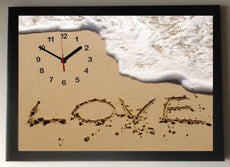 Love in the Sand Picture Wall Clock framed
