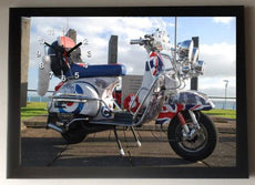 Lambretta Scooter Picture Wall Clock framed