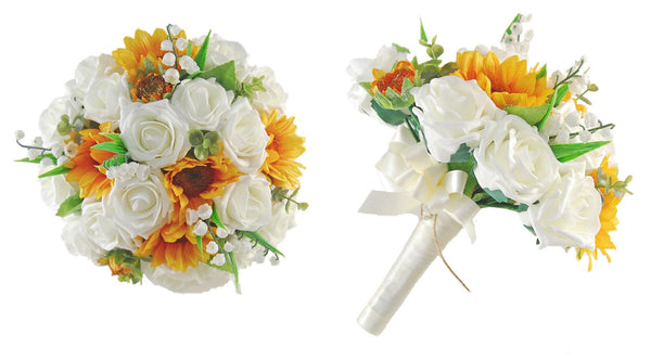 Brides_Golden_Sunflower_Ivory_Rose_Lilly_of_the_Valley_Wedding_Bouquet