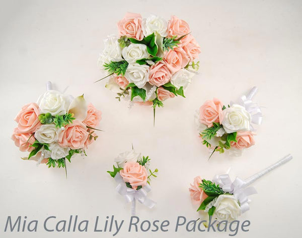 Mia calla lily and rose wedding flower packages