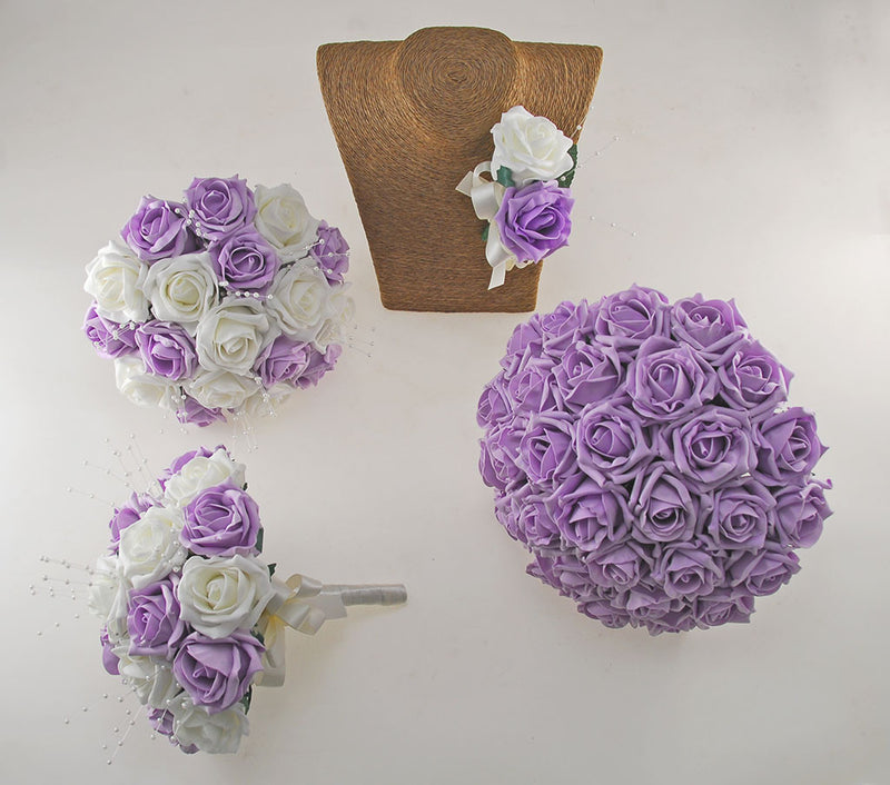 Lilac & Ivory Rose Amelia Wedding Flower Package with Brides Bouquet, Bridesmaids Posies & Grooms Buttonhole