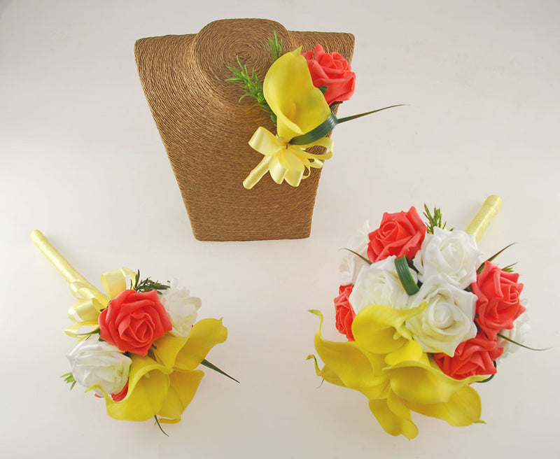 Yellow Calla Lily, Ivory & Coral Rose, Amy Wedding Flower Package with Brides Bouquet, Bridesmaids Posy & Grooms Buttonhole