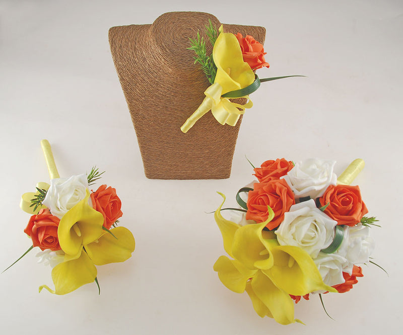 Yellow Calla Lily, Ivory & Orange Rose, Amy Wedding Flower Package with Brides Bouquet, Bridesmaids Posy & Grooms Buttonhole