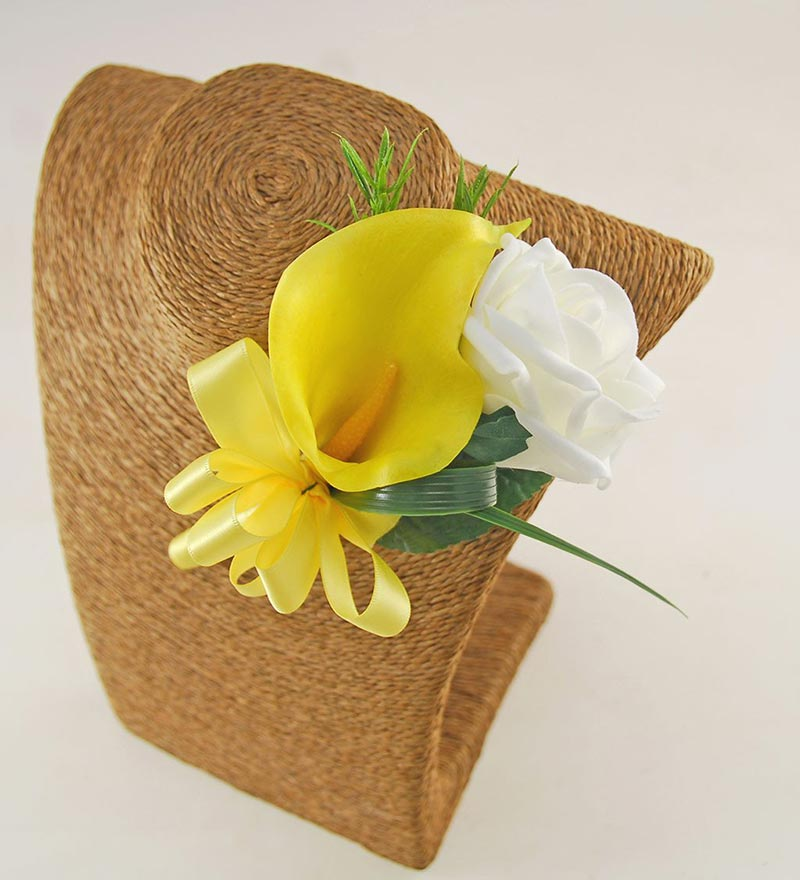 Yellow Calla Lily & Ivory Rose Amy Wedding Flower Package with Brides Bouquet, Bridesmaids Posy & Grooms Buttonhole
