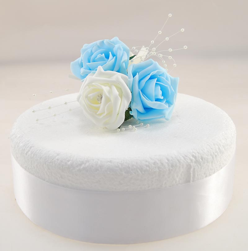 Aqua Blue, Ivory Diamante Foam Rose & Pearl Cake Spray