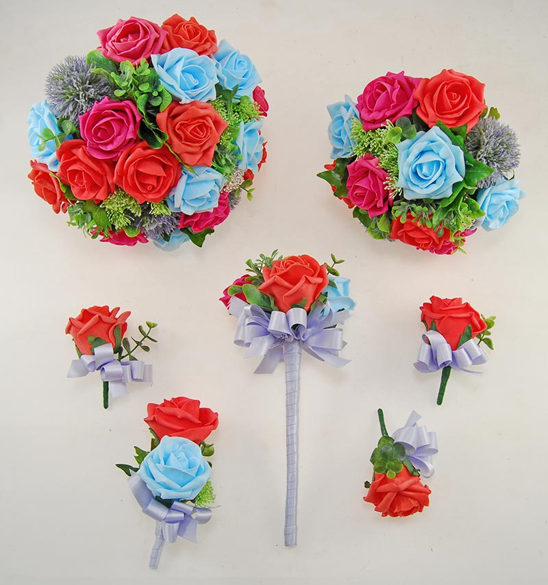 Aqua Blue, Coral & Cerise Pink Foam Rose Molly Foliage Wedding Flower Package