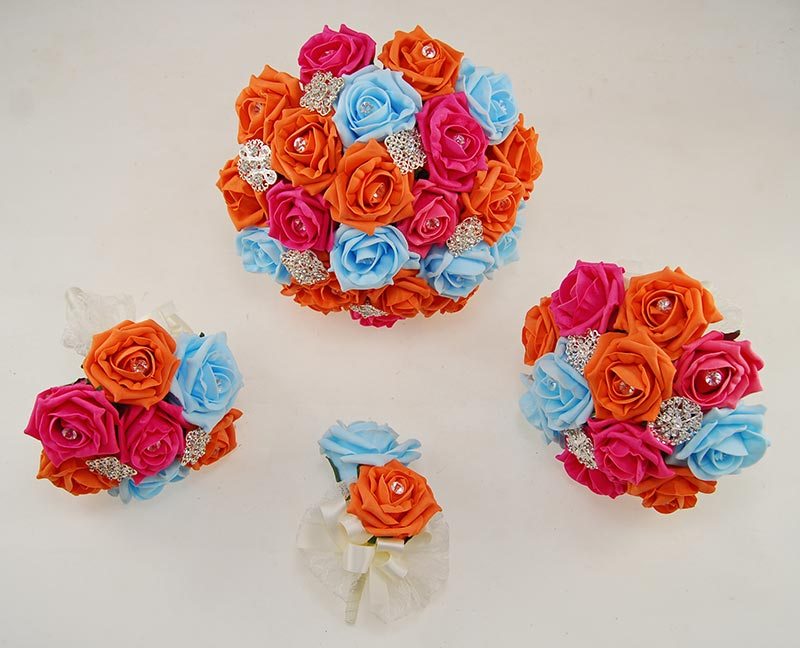 Aqua, Orange & Cerise Rose Classic Diamante Brooch Wedding Flower Package