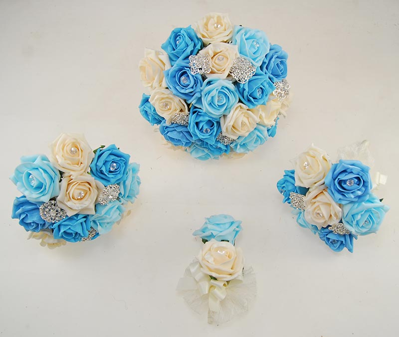 Aqua, Turquoise & Cream Rose Classic Diamante Brooch Wedding Flower Package