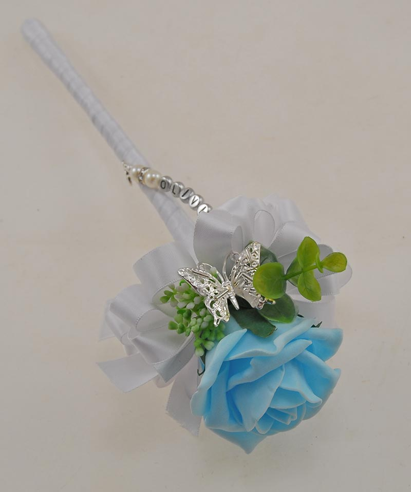 Aqua Blue Rose Wedding Wand with Name Charm Handle