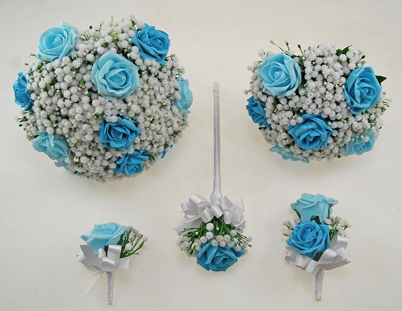Aqua Turquoise Foam Rose & Ivory Gypsophila Yula Wedding Package