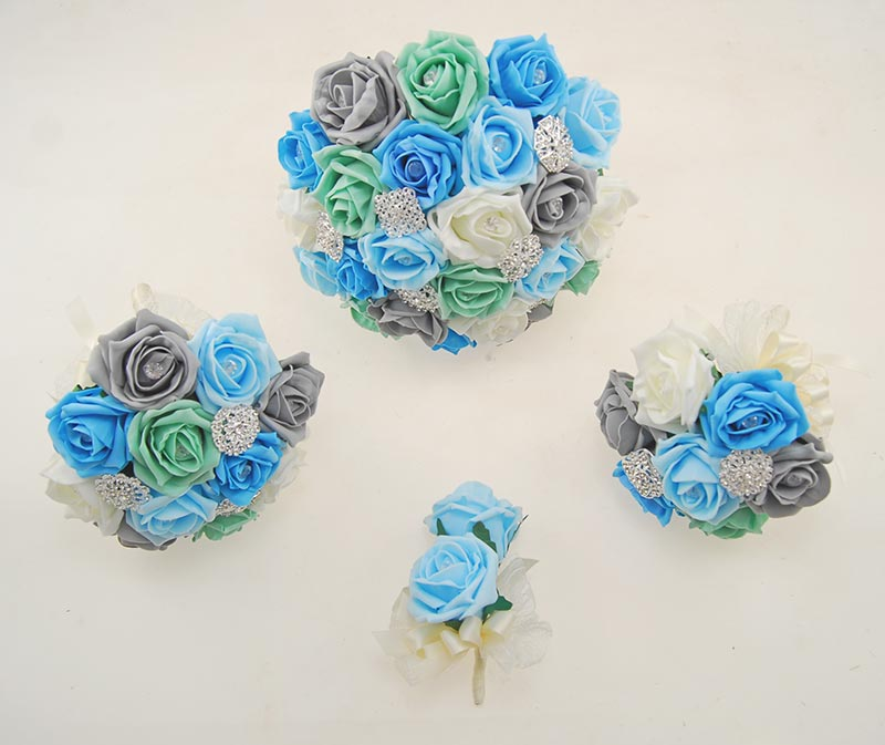 Aqua, Turquoise, Mint, Dark Grey Rose Classic Diamante Brooch Wedding Flower Package