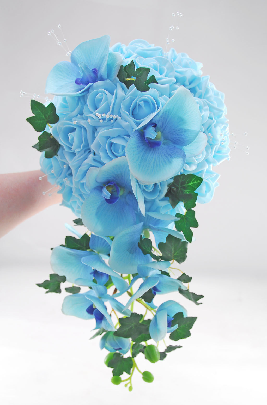 Aqua blue rose orchid hand tied bridal shower bouquet budget aqua blue rose orchid hand tied bridal shower bouquet izmirmasajfo