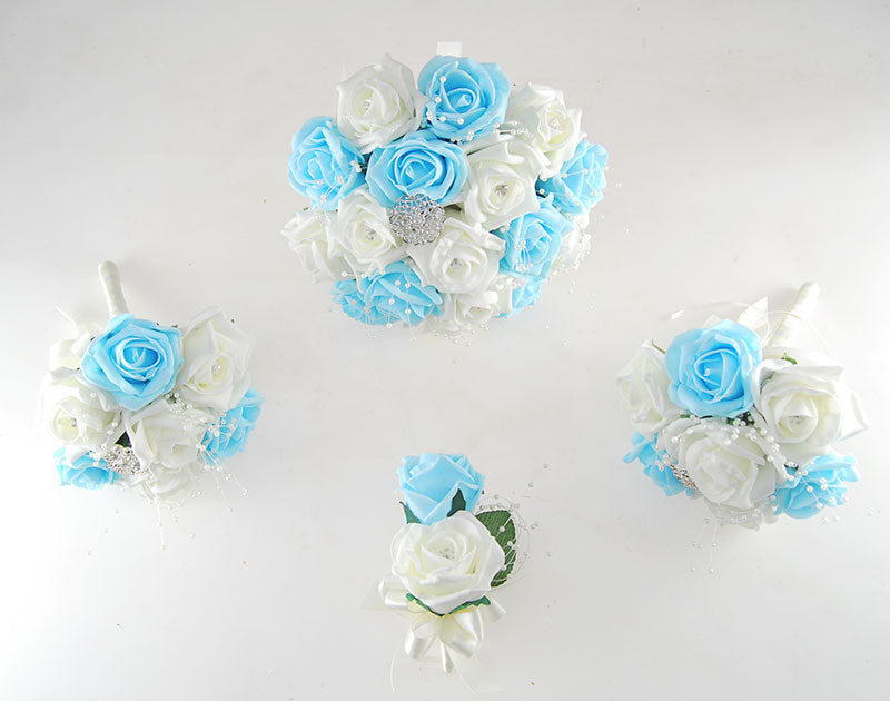 Aqua and Ivory Diamante Foam Rose, Brooch Wedding Flower Package with Brides Bouquet, Bridesmaids Posies, Grooms Buttonhole