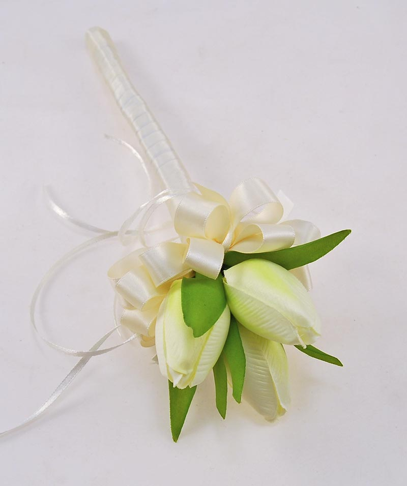 Artificial Ivory Silk Tulip Flower Girl Wedding Wand
