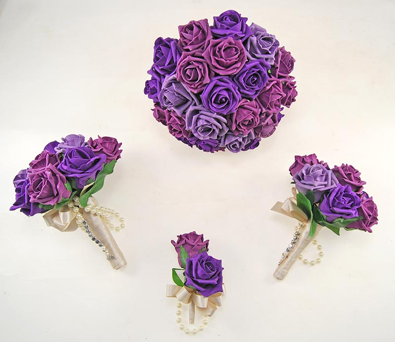 Aubergine, Plum & Purple Foam Rose Handle Name Charm Vanessa Wedding Package
