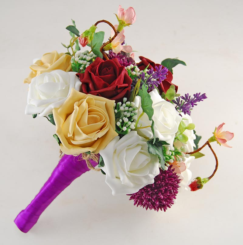 Beth Burgundy, Gold Rose, Purple Allium Butterfly Charm Wedding Flower Package