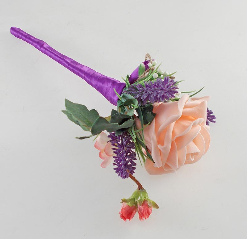 Beth Coral Rose, Purple Allium Butterfly Charm Wedding Flower Package
