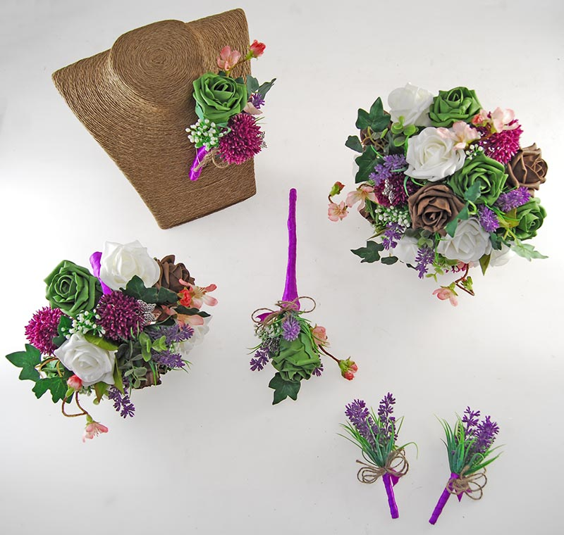 Beth Forest Green, Brown Rose, Purple Allium Butterfly Charm Wedding Flower Package